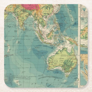 Indian Ocean cables, wireless stations Square Paper Coaster