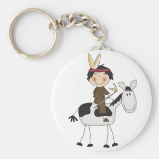 Indian on Horse Tshirts and Gifts Basic Round Button Key Ring