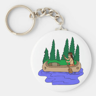 Indian Paddles Canoe Basic Round Button Key Ring