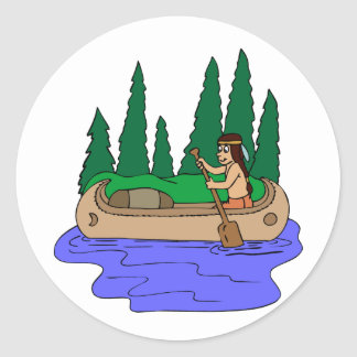 Indian Paddles Canoe Classic Round Sticker