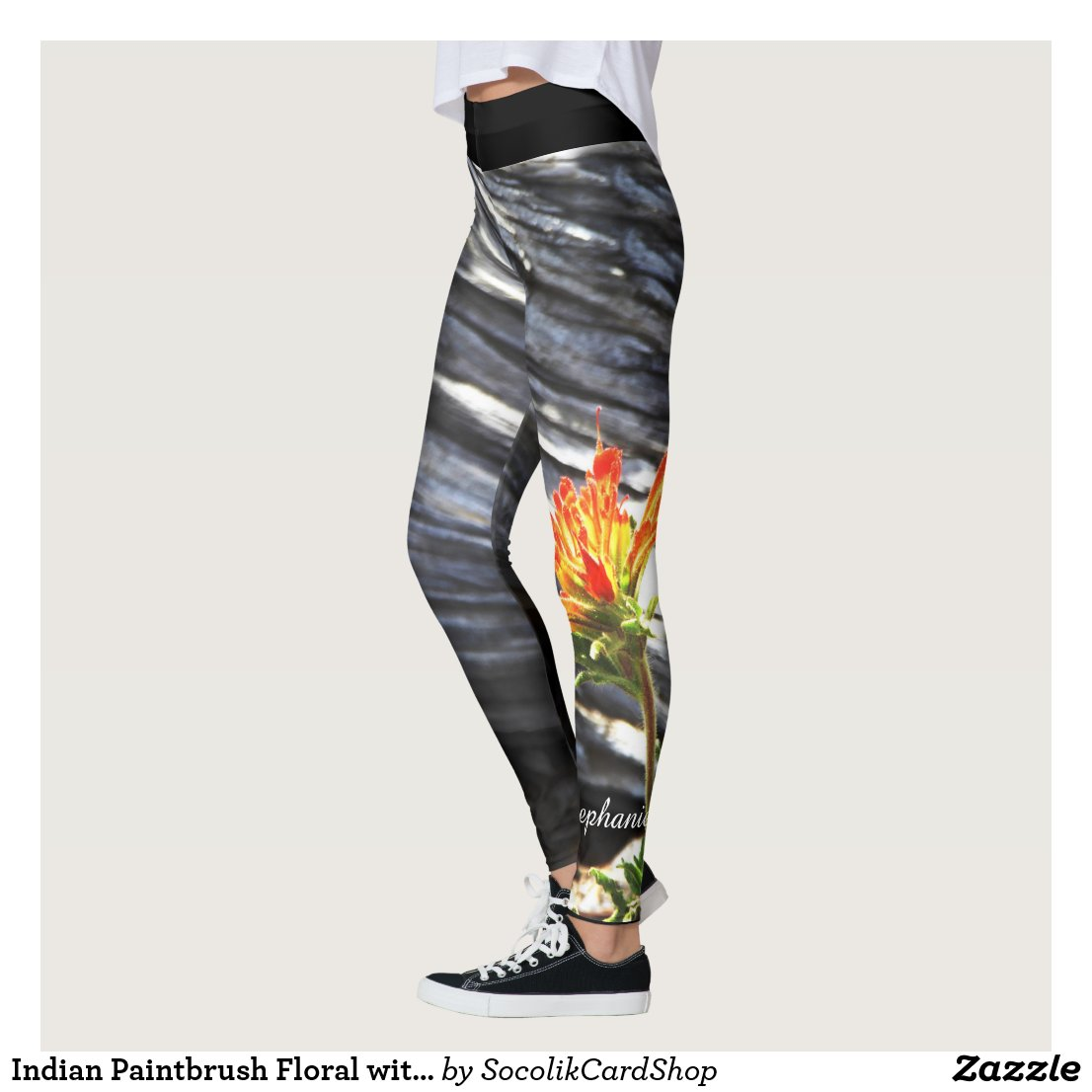 Indian Paintbrush Floral with Personalised Name Leggings
