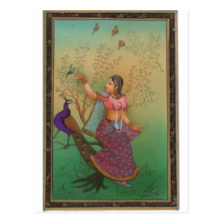 INDIAN PAINTING-LADY IN THE PEACOCK GARDEN POSTCARD