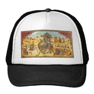 INDIAN - PAINTING MARRIAGE PROCESSION WITH CAMELS TRUCKER HATS