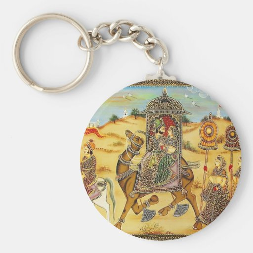 INDIAN - PAINTING MARRIAGE PROCESSION WITH CAMELS KEY CHAINS