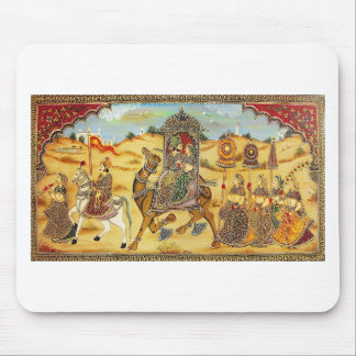 INDIAN - PAINTING MARRIAGE PROCESSION WITH CAMELS MOUSE PAD