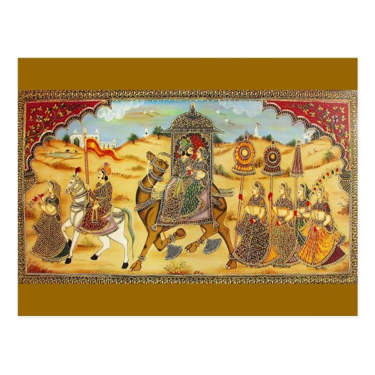 INDIAN - PAINTING MARRIAGE PROCESSION WITH CAMELS POSTCARD