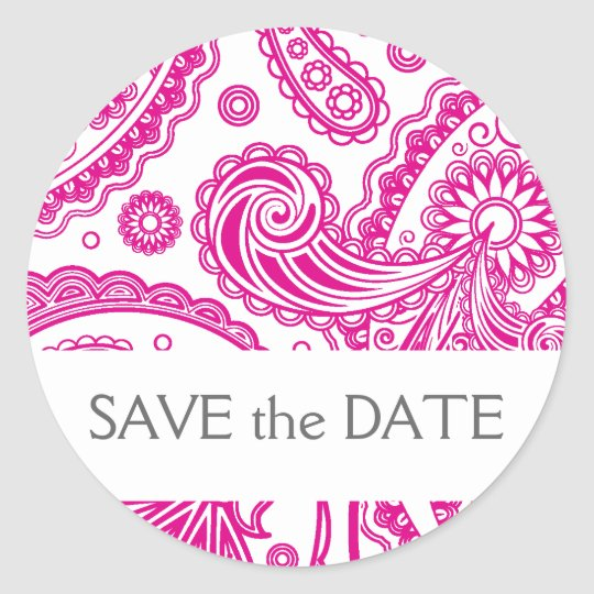 Indian Paisley Save the Date Classic Round Sticker
