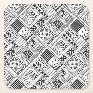 Indian Pattern Doodle Square Paper Coaster