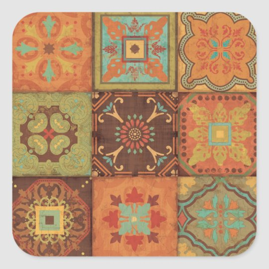 Indian Patterns Square Sticker