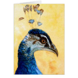 Indian Peafowl 721 design by Schukina Greeting Card