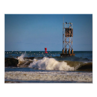 Indian River Inlet Waves Gulls a Beacon and a Buoy Photograph