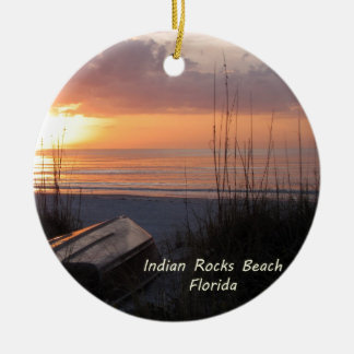 Indian Rocks Beach Florida Sunset Beach Boat Christmas Ornament