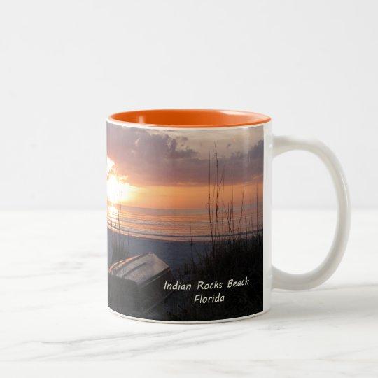 Indian Rocks Beach Florida Sunset Beach Boat Two-Tone Coffee Mug