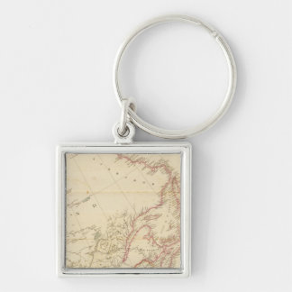 Indian Settlements in North America 2 Silver-Colored Square Key Ring