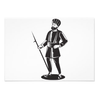 Indian Sikh Guard Retro Personalized Announcement