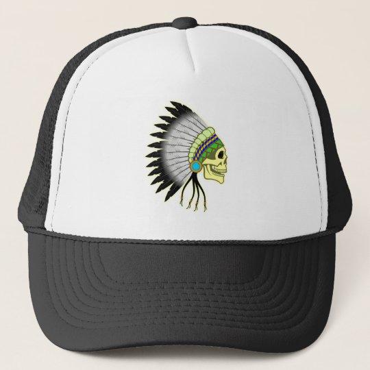 Indian skull chieftain skull chief cap
