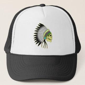 Indian skull chieftain skull chief trucker hat