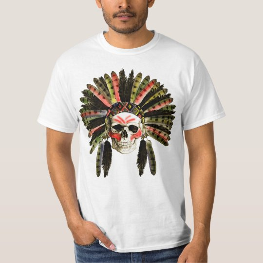 indian skull  ,skull with an Indian headdress T-Shirt