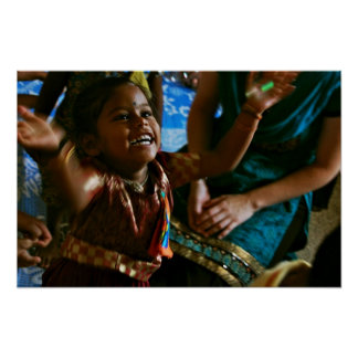 Indian Slum Child playing with Bubbles Poster