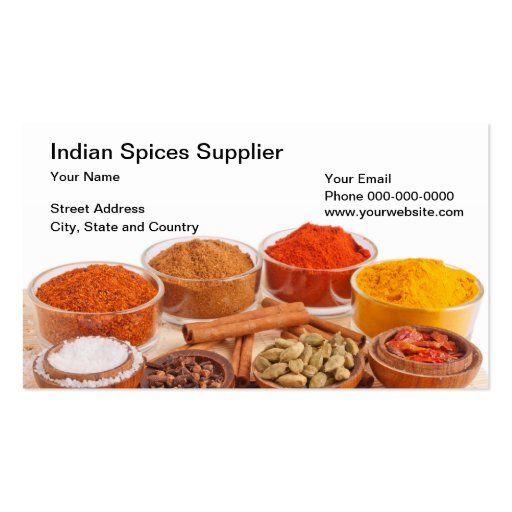 Indian Spices Supplier Business Card Business Card