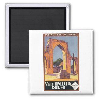 Indian State Railways Visit India Delhi Square Magnet
