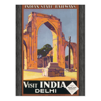 Indian State Railways Visit India Delhi, Vintage Postcard