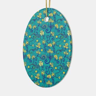 Indian style, boho chic, blue pattern ceramic oval decoration