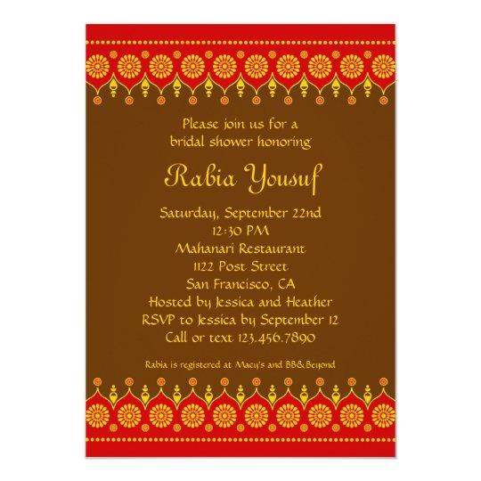 Indian Style Bridal Shower Invitation