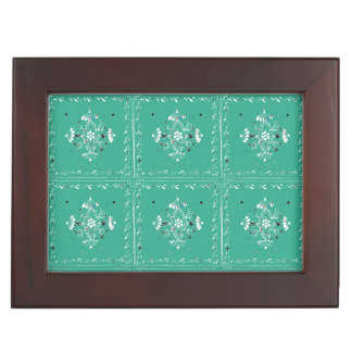 Indian Style Green 2 Floral Tile Keepsake Box