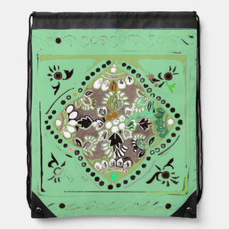 Indian Style Green Floral Drawstring Backpack