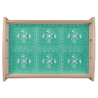 Indian Style Green Floral Serving Tray