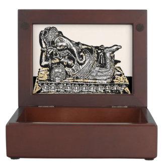 Indian Style Green/Yellow Keepsake Box (Ganesha)