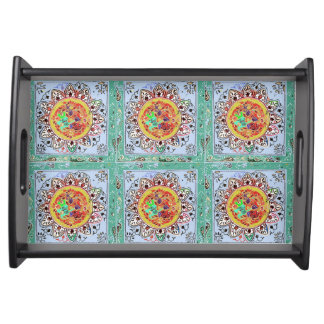 Indian Style Green/Yellow Serving Tray