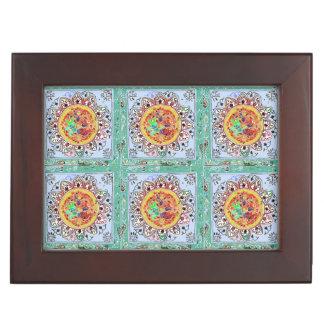 Indian Style Green/Yellow Tile Keepsake Box