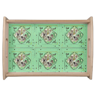 Indian Style Light Green Floral Serving Tray