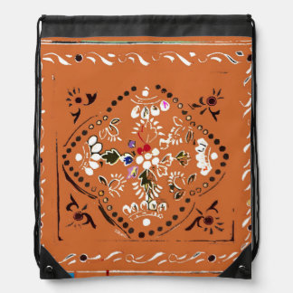 Indian Style Orange Floral Drawstring Backpack