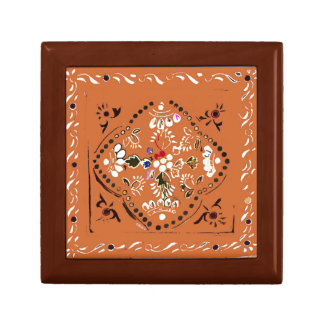 Indian Style Orange Floral Tile Gift Box