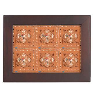 Indian Style Orange Floral Tile Keepsake Box