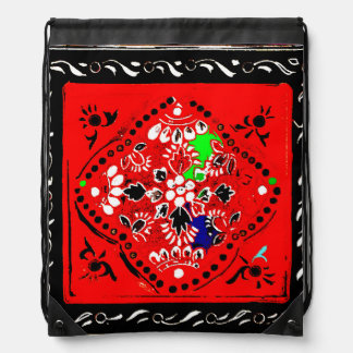 Indian Style Red/Black Floral Drawstring Backpack