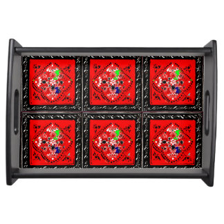 Indian Style Red/Black Floral Serving Tray