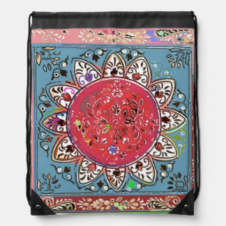 Indian Style Red Sunflower Drawstring Backpack