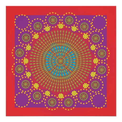 Indian Sun, red frame.ai Print