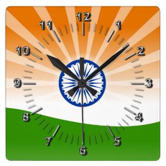 Indian sun square wall clock