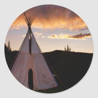 Indian Teepee Sunset  landscape Classic Round Sticker