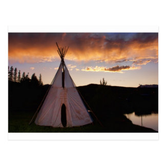 Indian Teepee Sunset  landscape Postcard