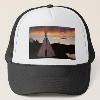 Indian Teepee Sunset  landscape Trucker Hat