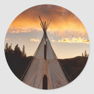 Indian Teepee Sunset vertical image Classic Round Sticker