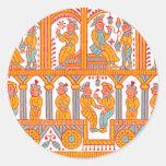 indian textile 1 classic round sticker
