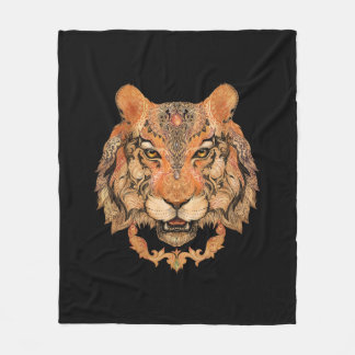 Indian Tiger Tattoo Fleece Blanket