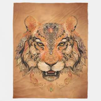 Indian Tiger Tattoo Large Fleece Blanket